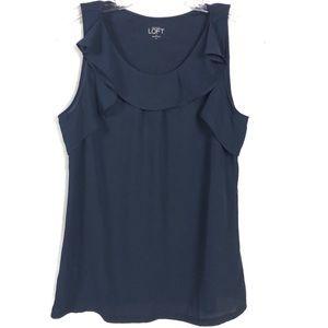 Ann Taylor Loft Blue Ruffle Collar Blouse